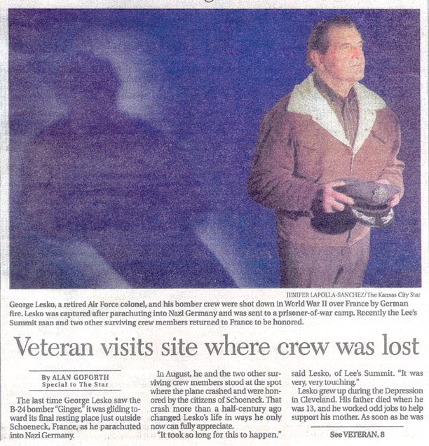 Newspaper article on George Lesko's return to crash site