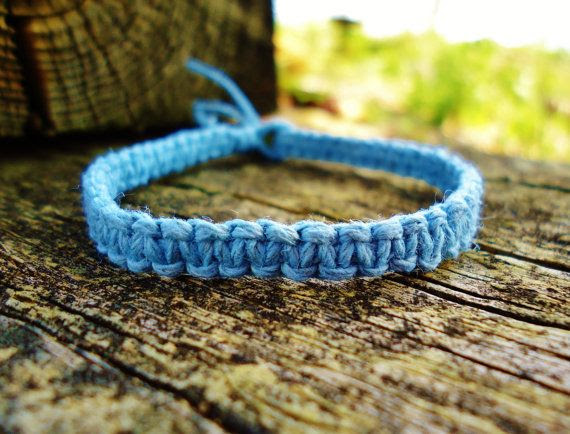 Slate Blue Hemp Bracelet by PEACEdTogether1 on Etsy, $10.00