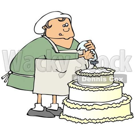 Clipart of a Chubby White Baker Chef Woman Frosting a