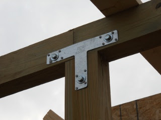 Porch Cross Beams Joined with T-Strap