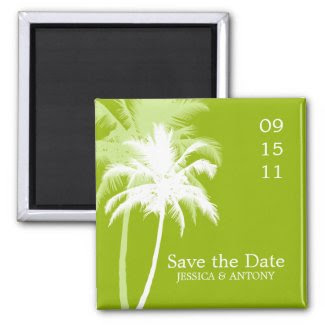 Palm Trees Tropical Wedding Save the Date or Favor magnet