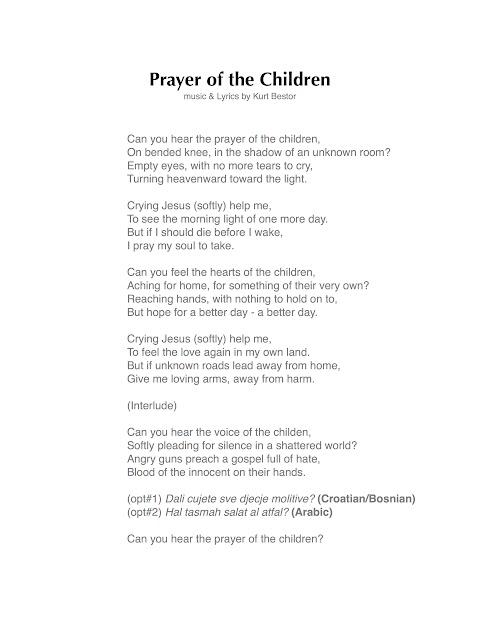 Prayer Of The Children Lyrics