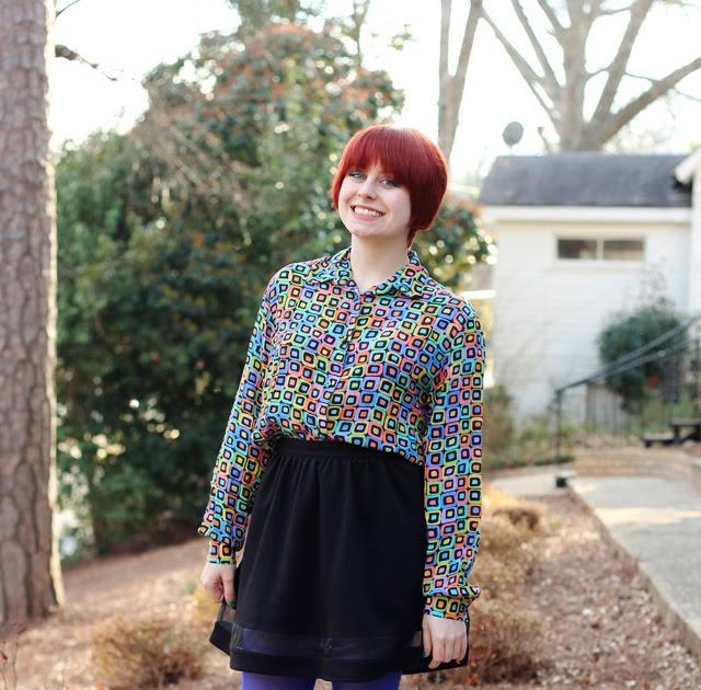 80s Geometric Print Shirt Black A Line Skirt Bright Blue