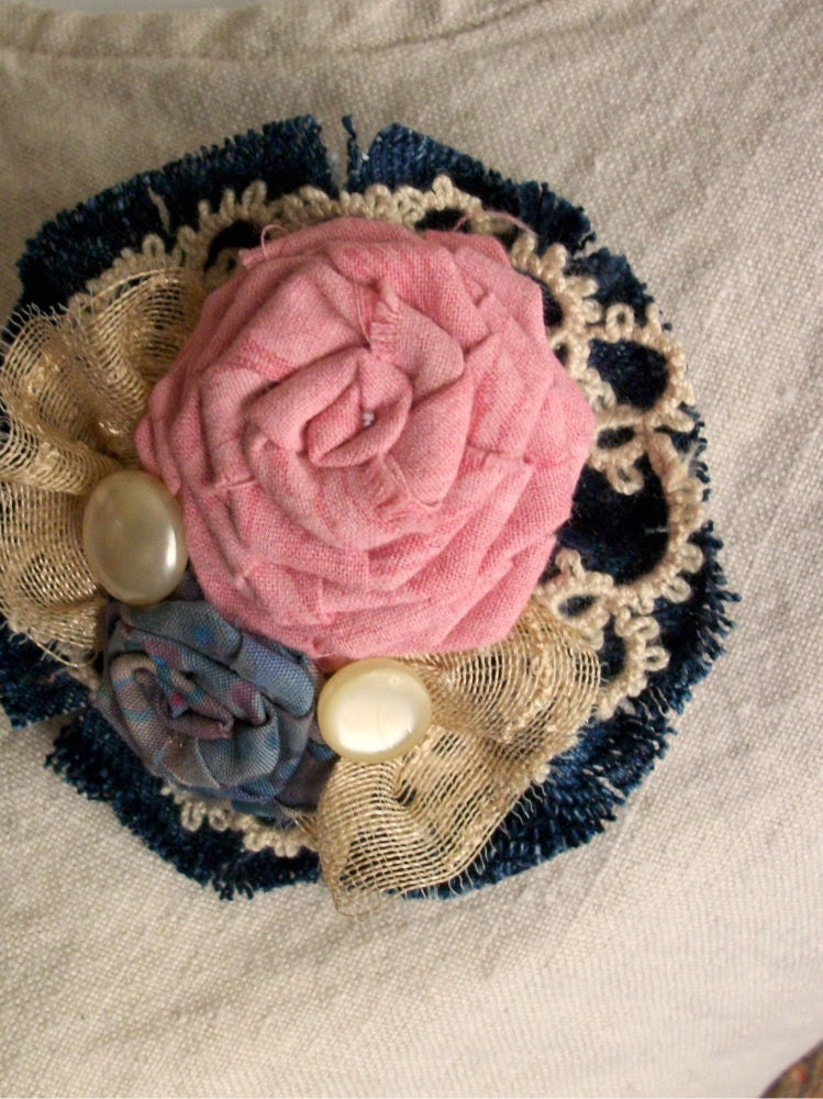 Fabric Flower Brooch - DENIM DREAMS in Pink and Blue