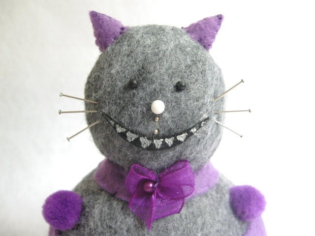Alice in Wonderland Cheshire Cat Pincushion cute felt kitty cat collectable or gift for animal lover...IN STOCK