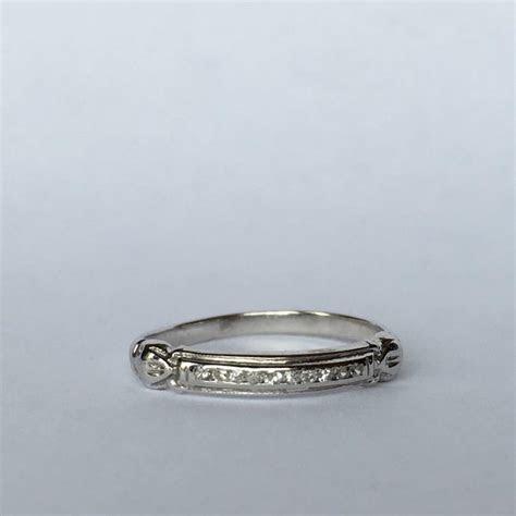 Vintage Diamond Wedding Band. 18K White Gold. April