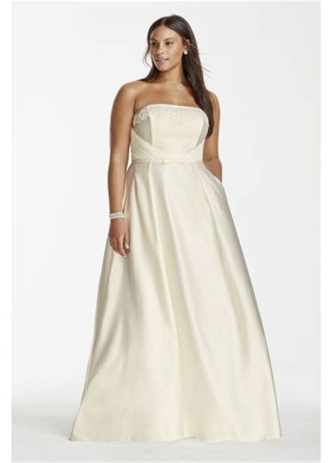 satin    size wedding dress  pockets davids