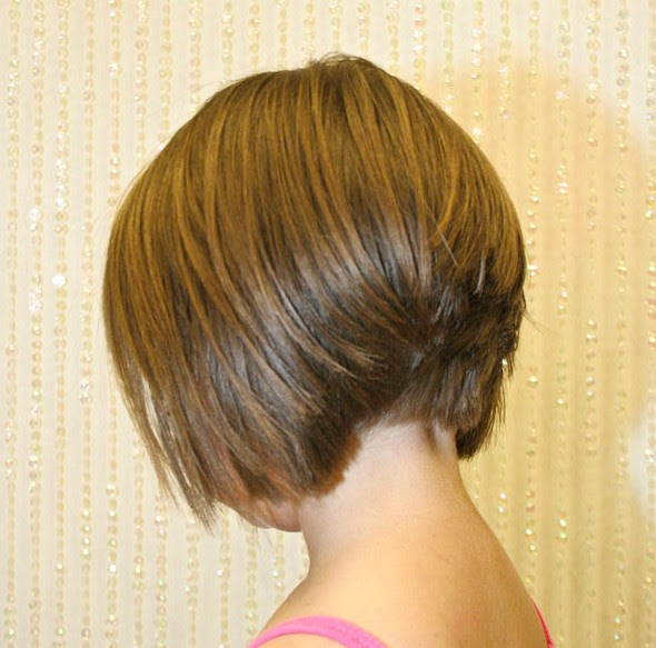 Back  View  of Stacked Bob  Hairstyle  Layered Bob  Inverted