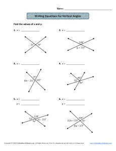 Writing Equations For Vertical Angles 7th Grade Geometry Worksheets