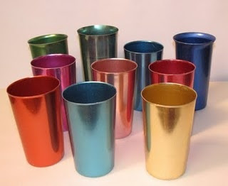 I remember these trendy                   aluminum drinking glasses. Could       never decide which                   color to choose!