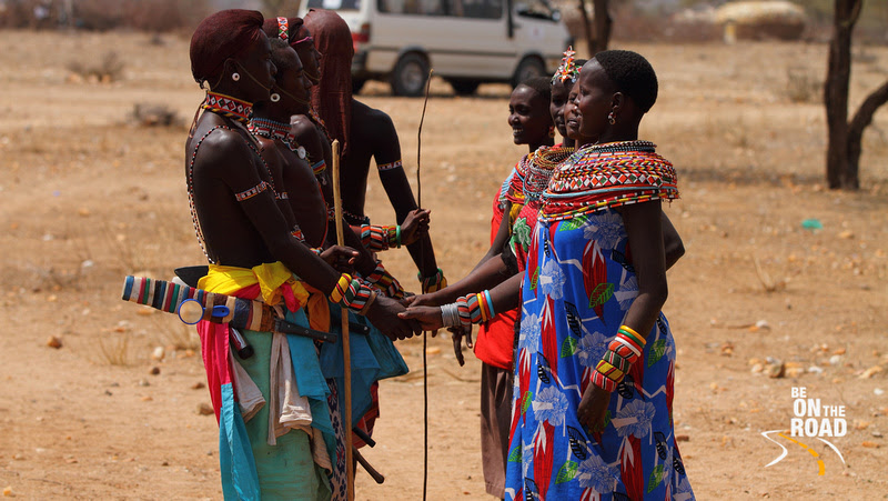 Wedding dance enacted by the Samburu men and women