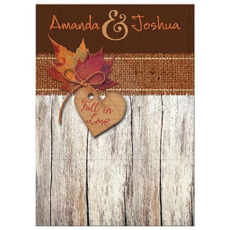Wedding Invitation   Fall in Love Autumn Leaves, Heart