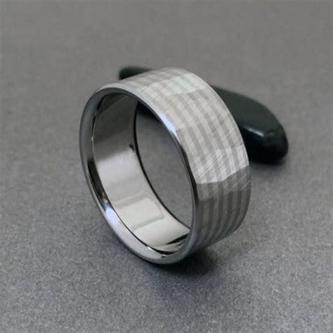 Titanium White Gold Ring, Wood Grain Sequoia, 18k Gold