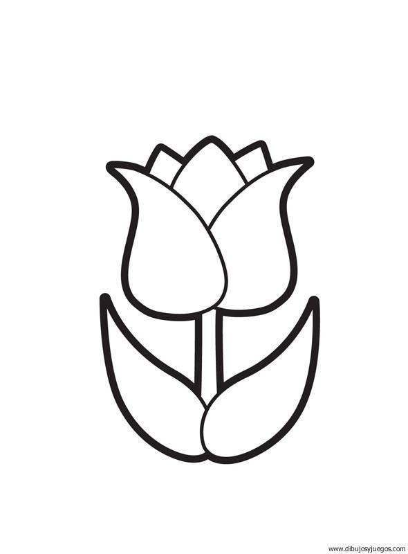 Dibujo Flores Tulipanes 000 Dibujos Y Juegos Para Pintar Y Colorear