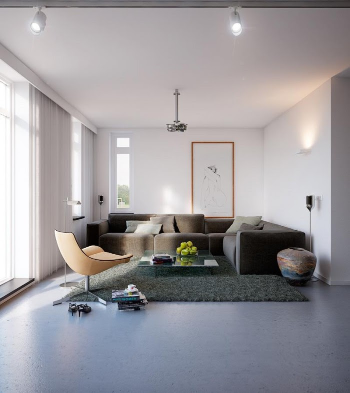 The living room sofa and rug pulls more of the deeper shading into the home design, for a cozier relaxation zone.