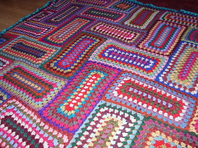 Herringbone granny rectangle blanket