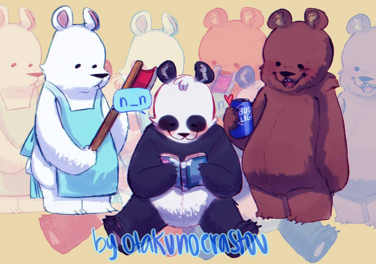 Ice ,Panda and Grizz + Chloe! Soon to be stickers :D