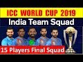 India Squad for ICC World Cup 2019 | India 15 Members Confirmed Squad fo...