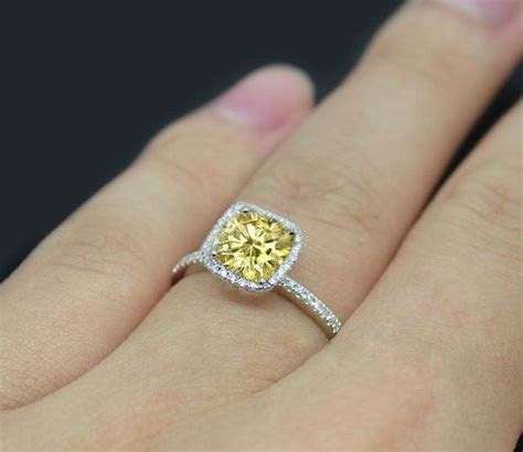 Canary Yellow Moissanite Engagement Ring 1.4ct by
