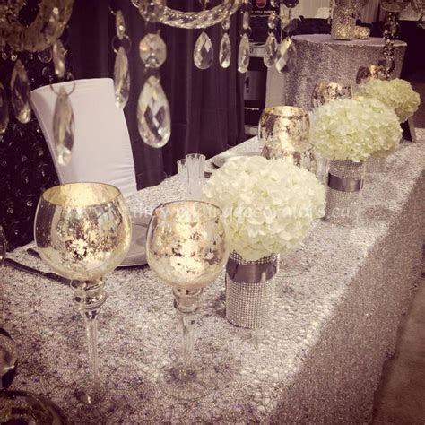 Crystal, silver, bling, white decor for head table & cake