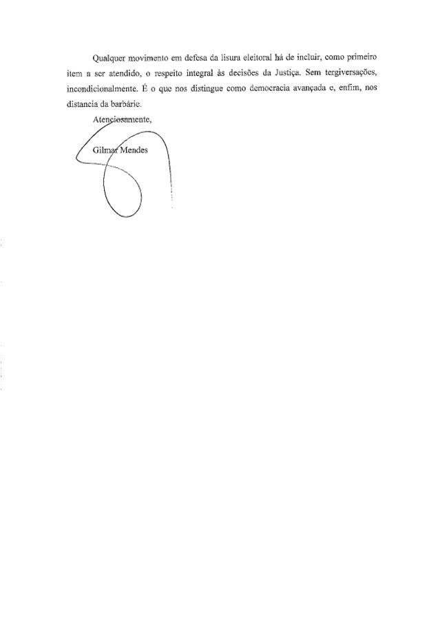 Segunda parte da carta enviada pelo ministro Gilmar Mendes ao senador Eduardo Suplicy (Foto: Reprodução)