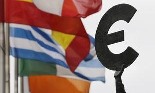 Euro symbol near European flags