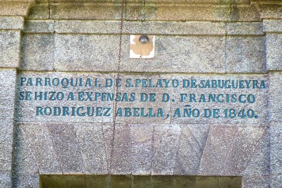church inscription Lavacolla Galicia Spain, Camino de Santiago