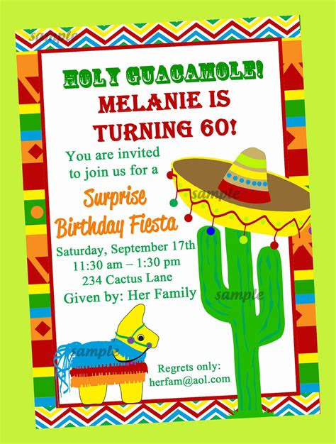 fiesta party invitation printable  printed