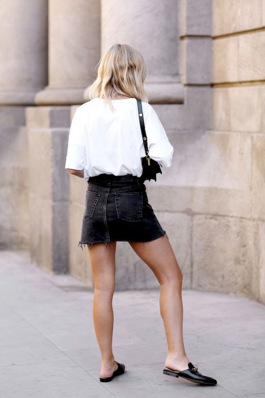 Le Fashion Blog Blogger Style Blonde Wavy Hair Slouchy White Tee Shirt Shoulder Bag Black Faded Short Jean Skirt Slip On Gucci Loafers Via We The People