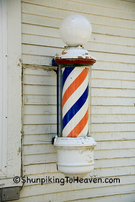 Barber Pole at Colonial Barbershop, Van Buren County, Michigan
