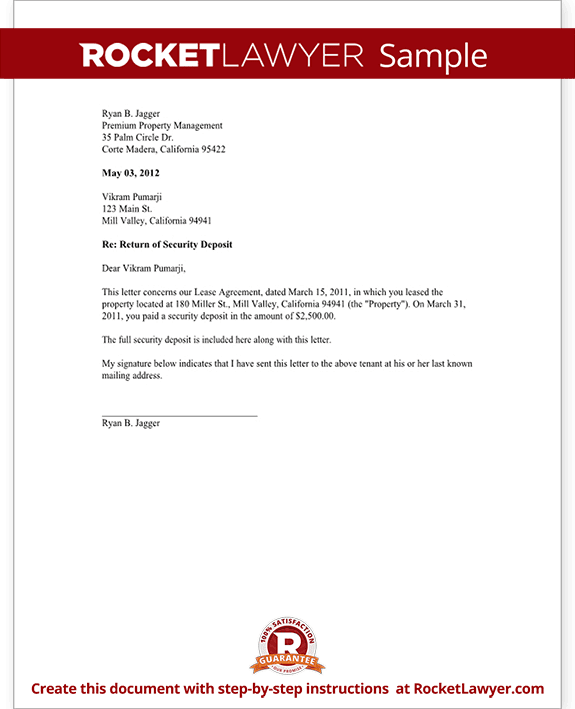 Sample Security Deposit Return Letter