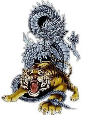 Beautiful Dragon And Tiger Tattoo Design