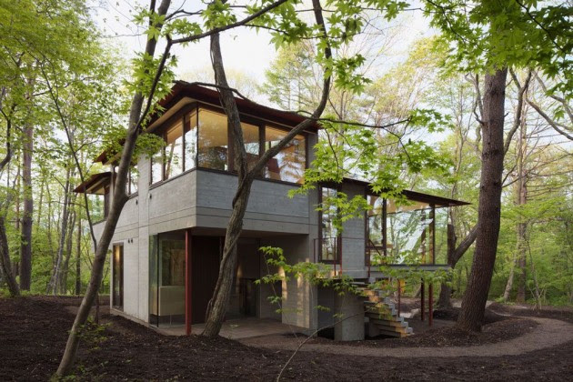 Diseño de casa de campo moderna construida en concreto  Construye