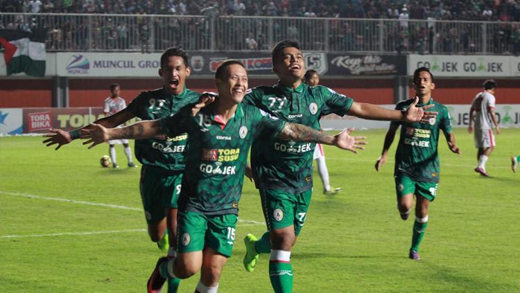 Dirga Lasut cetak dua gol kemenangan atas Persibangga Purbalingga. Copyright: PSS Sleman Official