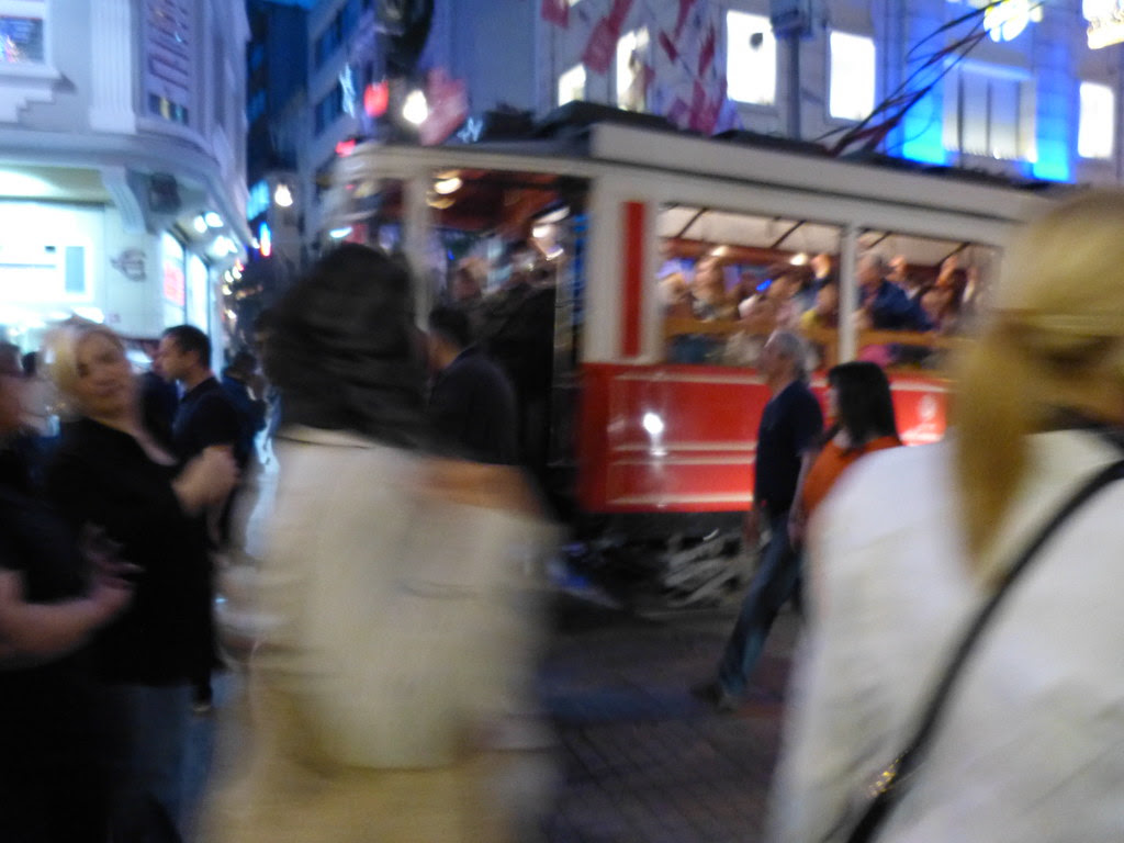 A tram in Istiklal Caddesi