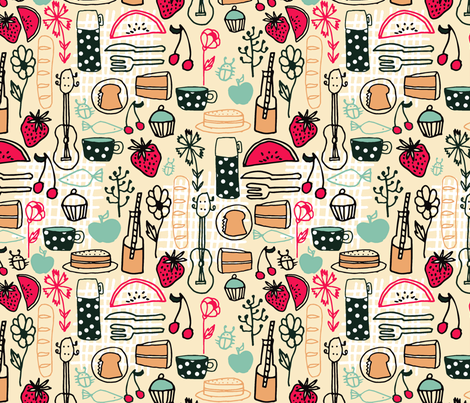 Summer Picnic - Cream/Coral/Pale Turquoise fabric by andrea_lauren on Spoonflower - custom fabric