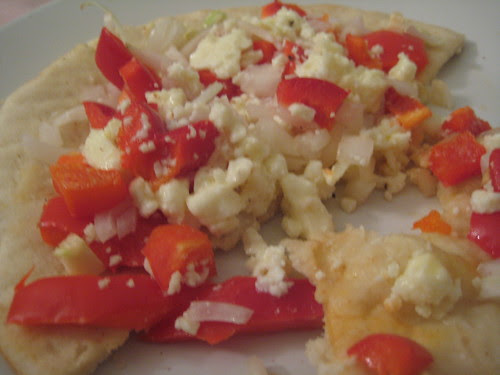 pita with red peppers, onions and feta (#241)