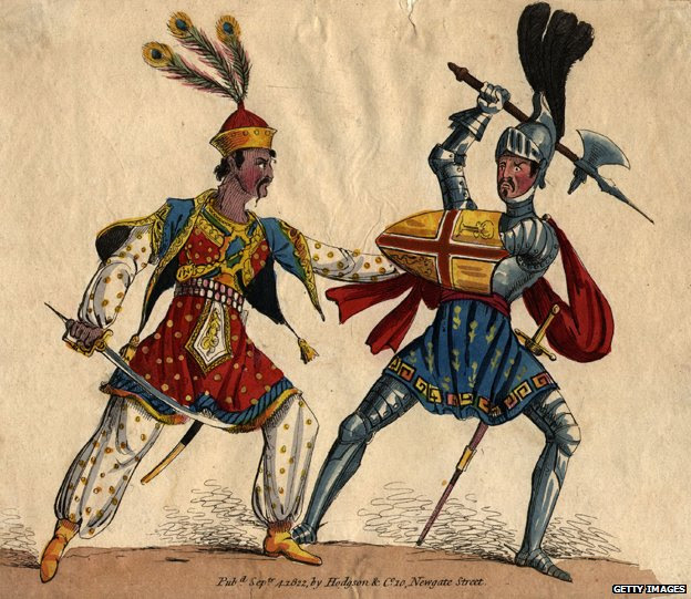 Circa 1250, A crusader and Muslim warrior in hand-to-hand combat.