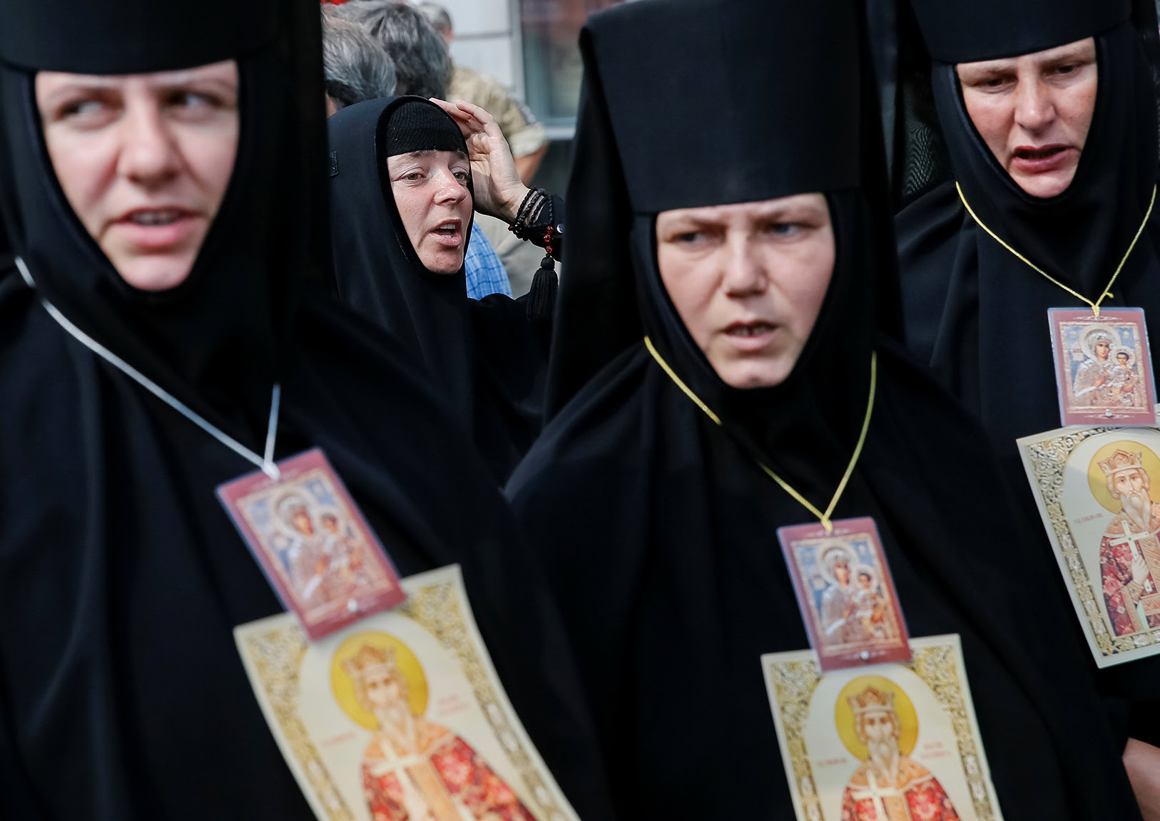Nuns of Ukrainian Orthodox Church of the Moscow Patriarchate take part in a procession petitioning for peace in Kiev