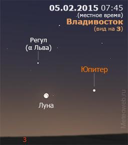 Луна и Юпитер на утреннем небе Владивостока 5 февраля 2015 г.
