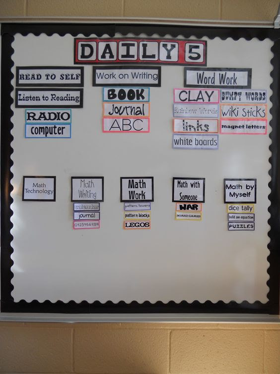 This looks like a great board for Daily 5 Reading and Math. This ...