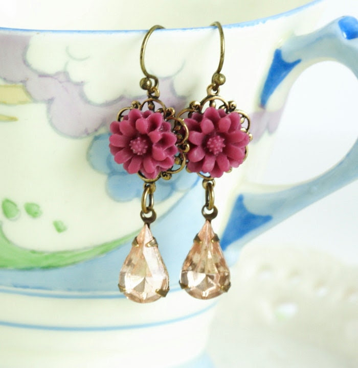 Burgundy Earrings with Pale Rose Vintage Jewels and Burgundy Flowers Set on Brass Filigree