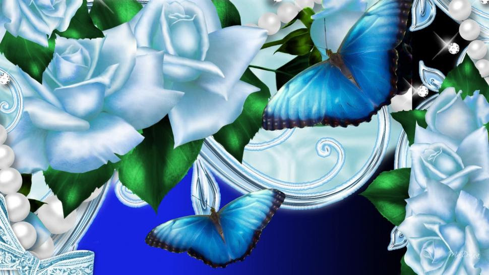 Blue Roses Butterflies wallpaper | nature and landscape ...