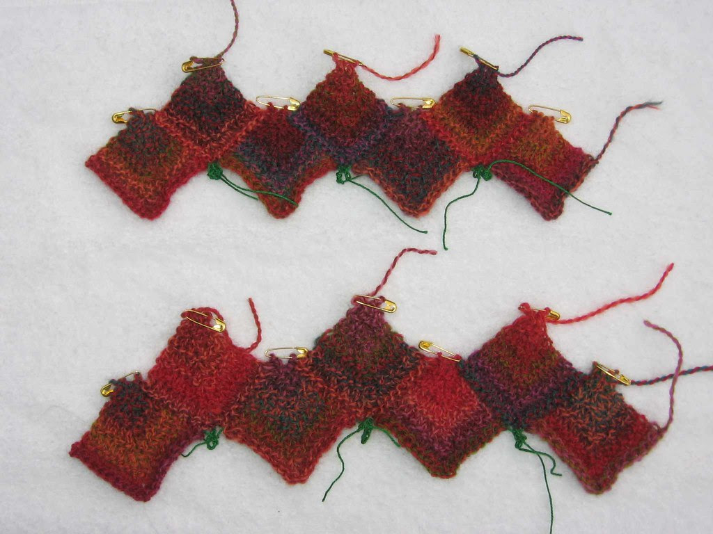 Gauge swatches for Holiday Sox