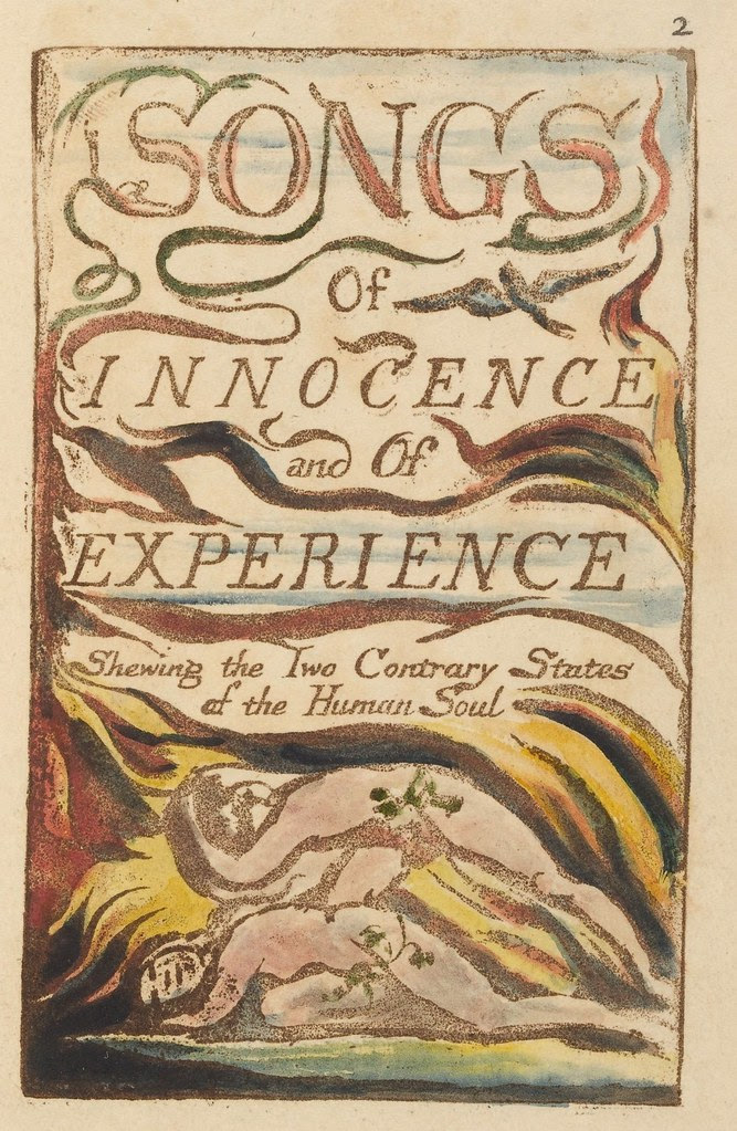 etched title page by William Blake: 'Songs of innocence and of experience : shewing the two contrary states of the human soul'