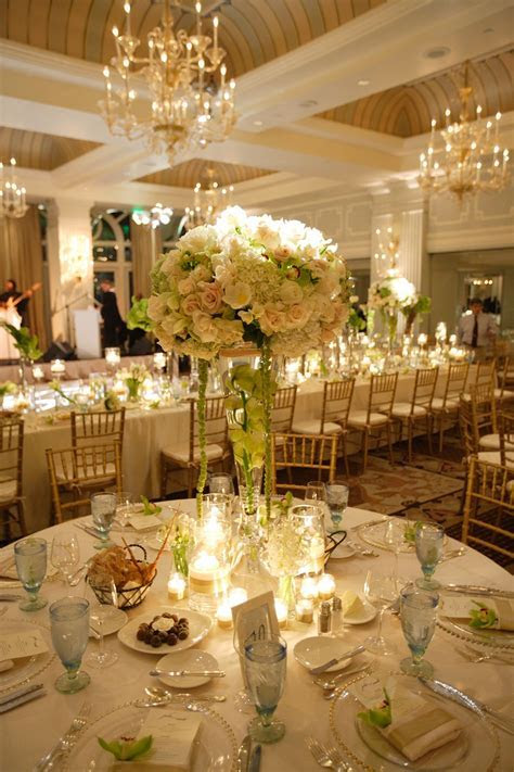 Beautiful wedding reception table setting. Colonnade