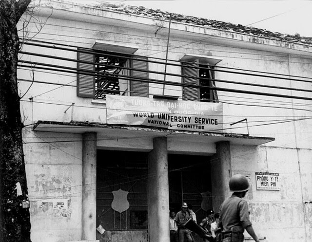 World University Service building blasted by VC explosive charge. 3 May 1968