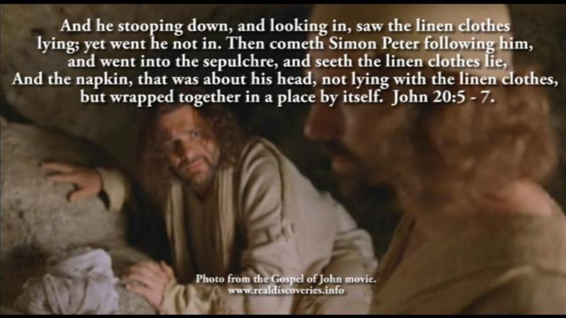 John 20:5 - 7.