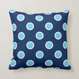 White Outlined Sky Blue Polka Dots on Navy Pillow