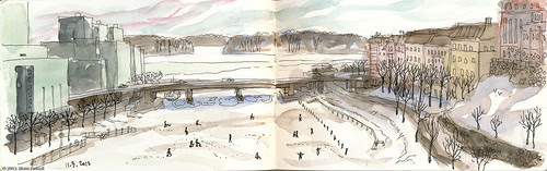 Ice fishing on the sea, early spring, Helsinki by Brin d'Acier